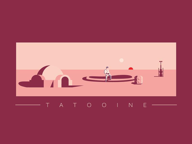 Tatooine planet movie jedi skywalker luke poster illustration tatooine star wars