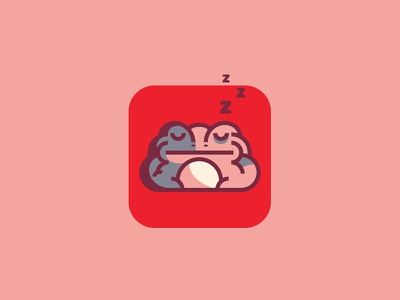 Toad logo mark icon flat illustration sleeping toad red frog