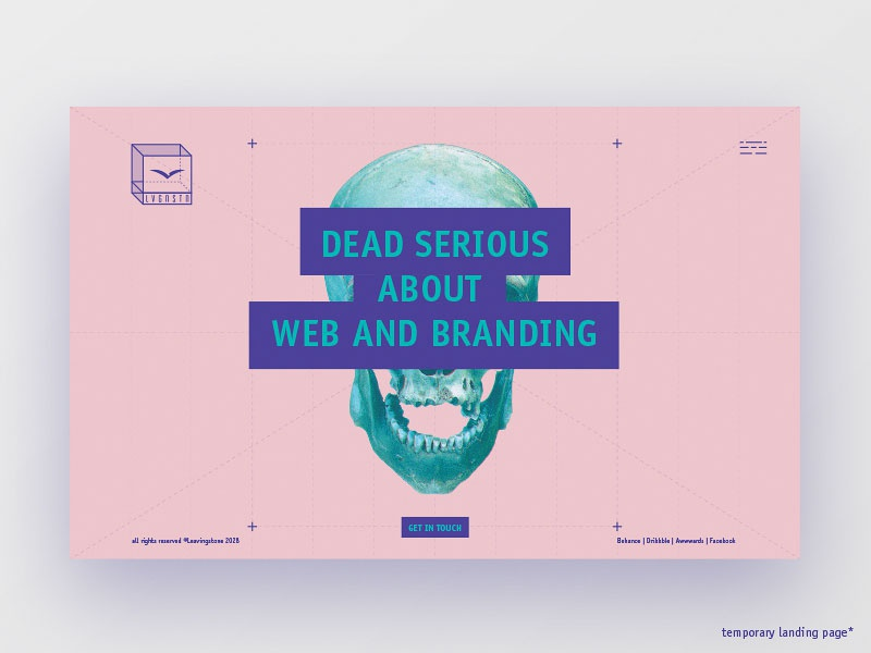 Temporary landing page ux ui layout responsive logo type skull site web landing page