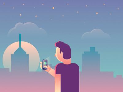 Dude nigth city illustration animation phone dude