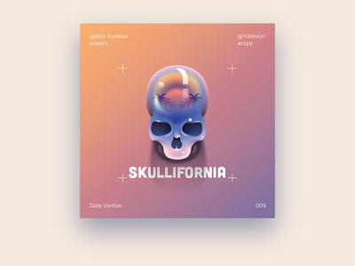 Skull - 009 sun california mark layout illustration vanitas daily poster skull
