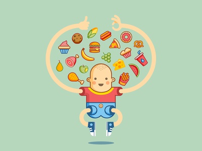 Foood set fast food kid icons illustration food