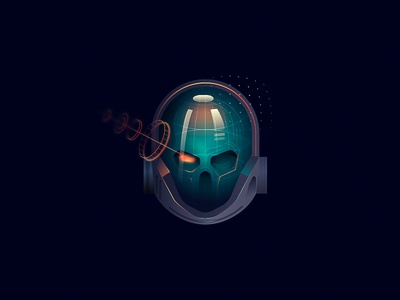 Skull-Fi one eyed helmet space space pirate illustration sci-fi skull