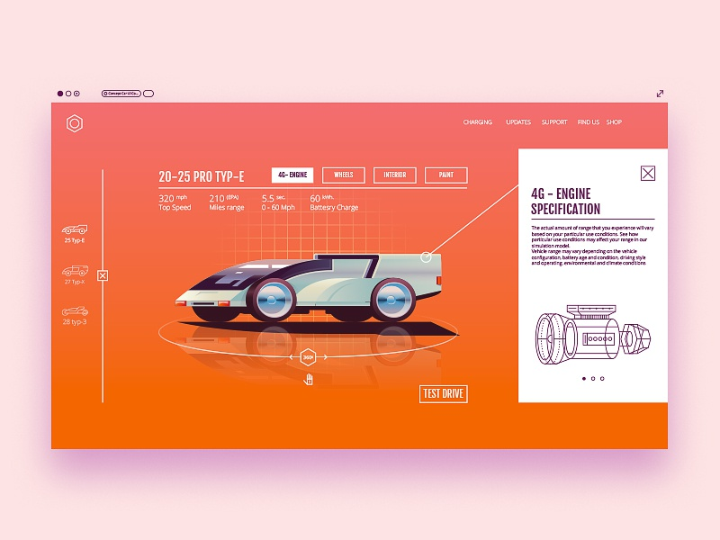 Prototype layout modern browser interface navigation site web ux prototype ui futuristic car