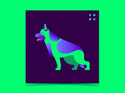 Dro cyberpunk electric illustration german shepherd dog