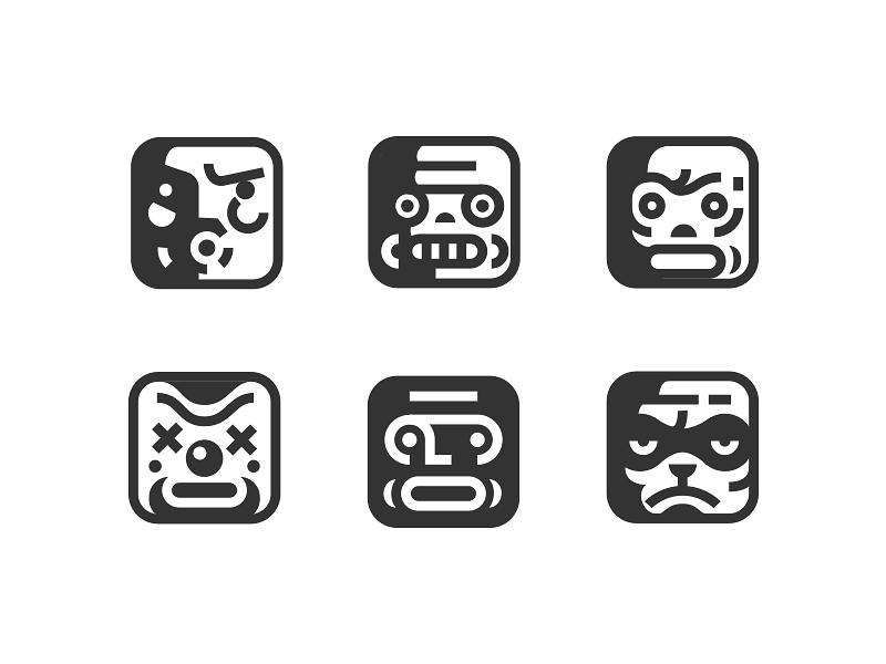 Faces symbols mark icons illustration mood face