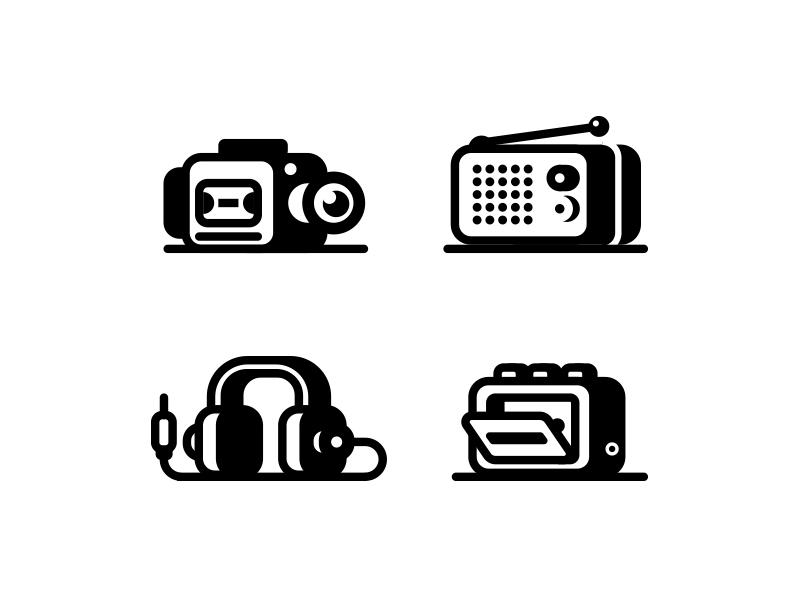 Audio Video icons illustration jack radio headphones cassette player audio camera vide