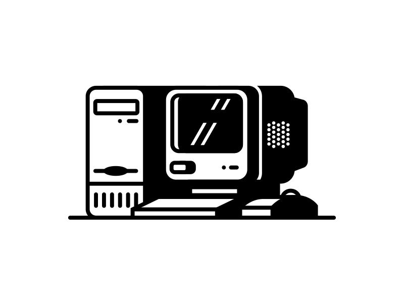 PC personal vintage illustration icon computer