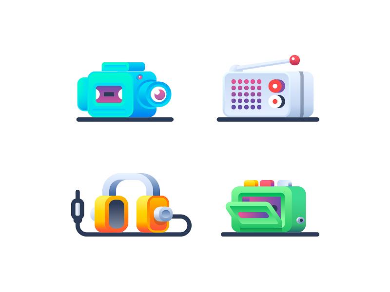 Audio Video headphones player camera radio video audio illustration icon icons