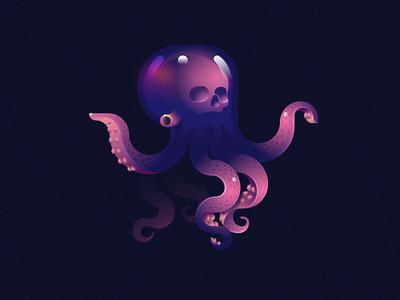 Skulltopus reflection deep sea illustration gradient octopus skull