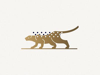 Jaguar line gold symbol mark illustration jaguar