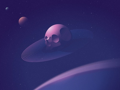 syzygy nick kumbari gradients simple scifi syzygy space illustration planet skull