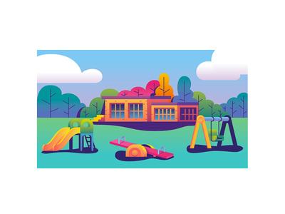 Playground illustrator house nature toys kids playground