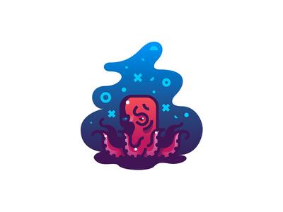 Skulltopus in Color reflection deep sea illustration gradient octopus skull