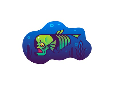 Skullfish reflection deep sea illustration gradient fish skull