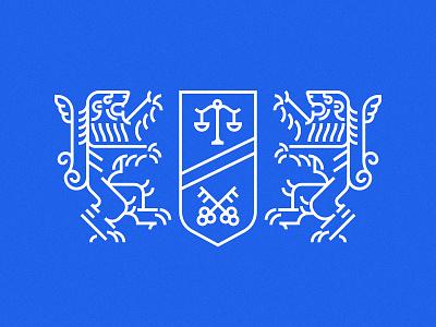 Lions heraldry mark logo simple animal crest heraldry lion