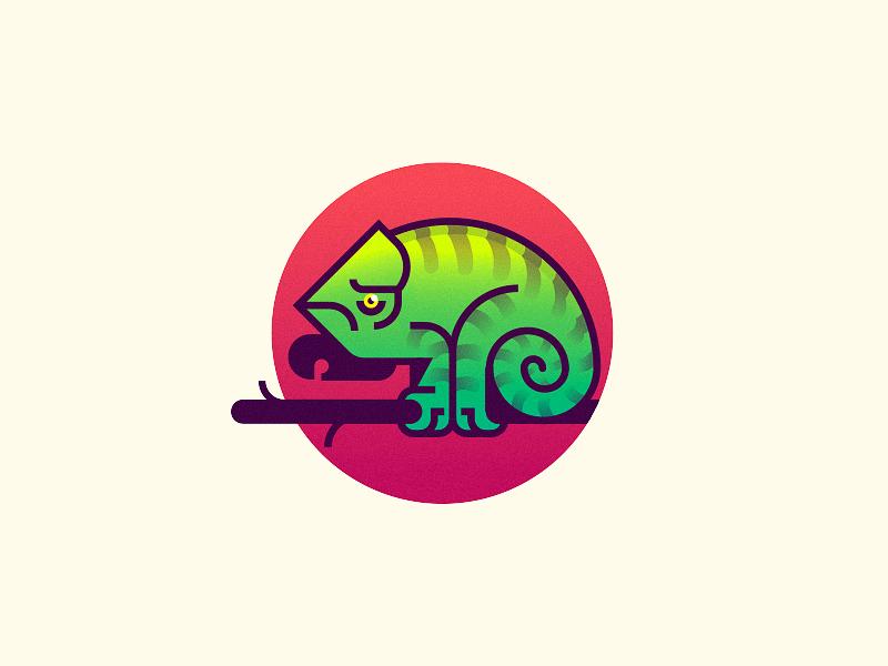 Chameleon sun kumbari gradients tree illustration animal chameleon