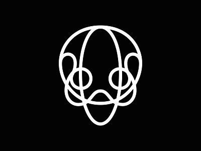 Skulline symbol illustration black one lined mark line skull