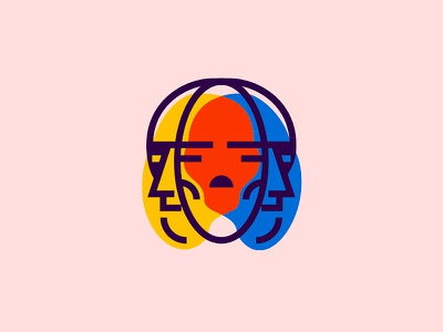 Diplopia colorful line negative space art illustration face skull