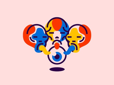 Oculolinctus colorful line tongue liking illustration eyeball eye skulls skull