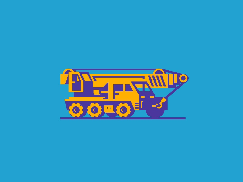 Crane Truck simple illustration crane truck car