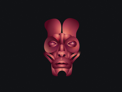 Muscle Tissue gradients illustration skull portrait face tissue muscle