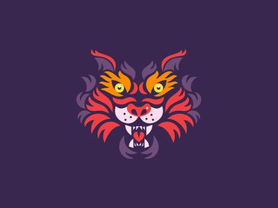 Tiger cat symbol mark simple sun illustration animal tiger