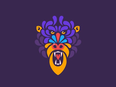 Mandrill minimal simple t-shirt face animal illustration monkey