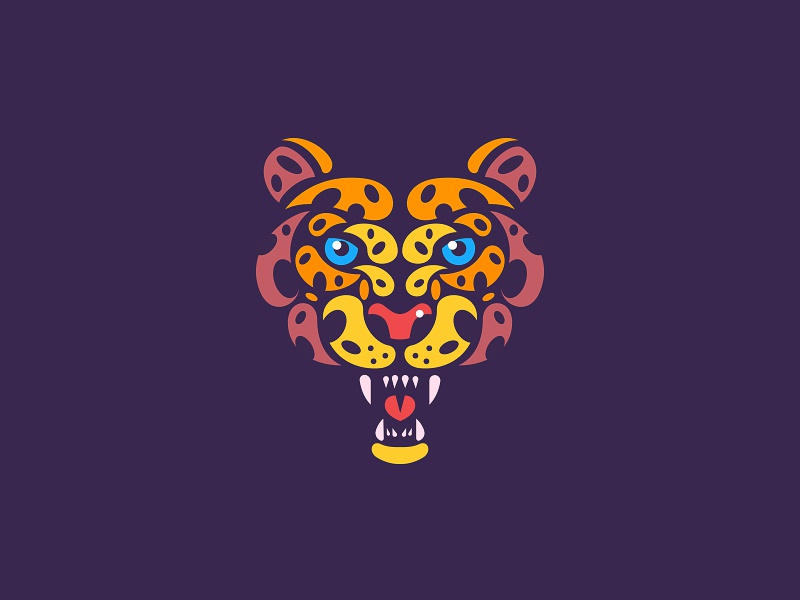 Leopard face roar eye negative minimal illustration animal jaguar leopard