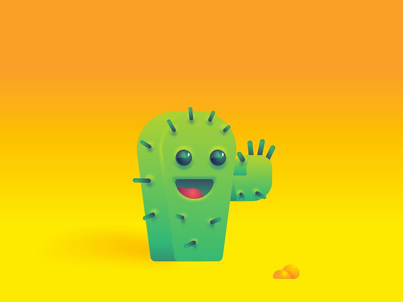 Cactus smile face subtle gradients illustration plant cactus