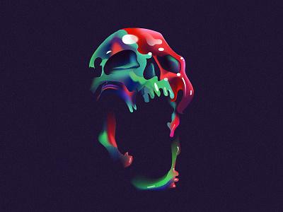 AAA skull tombs color mark layout illustration vanitas daily poster skull
