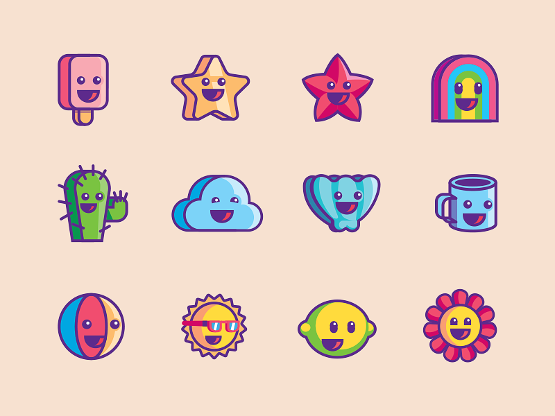 Happy Faces flowers fruits wix simple mood faces icons