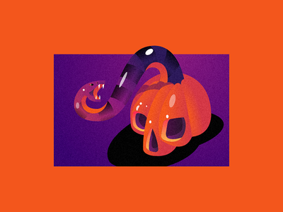 Helloween💀 gradients pumpkin skull illustration halloween