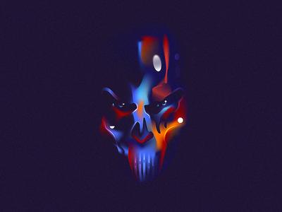ColdFear 💀 mesh gradient illustration skull tomb colorful