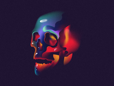 Shining tombs colorfull gradient illustration skull