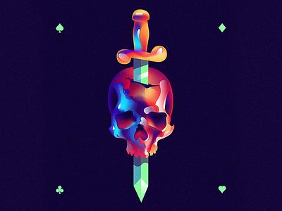 Dead skull head gradient gradients deck card illustration dead skull