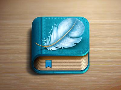Saba book icon book feather blue bookstore shelf ios apple icon ios icon