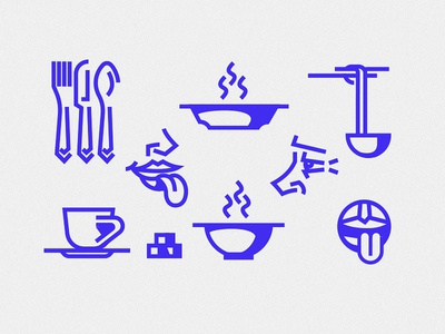 Taste icons culinary tools sugar knife spoon fork cup food mouth nose kitchen symbol simple line layout mark vector illustration icon