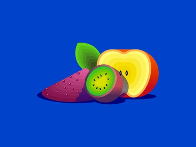 Fruit Drops2 gradients leaf chia apple kiwi illustration fruits