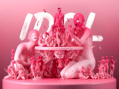 IDOL zbrush illustration cryptoart pink nft monster c4d render 3d