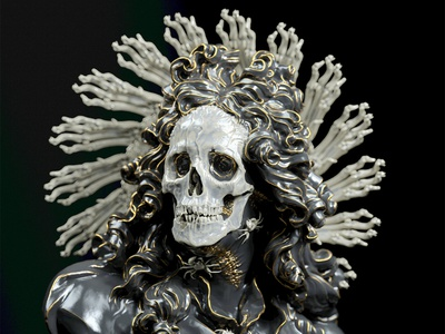 Gallean illustration design darkart skull nft zbrush c4d render 3d