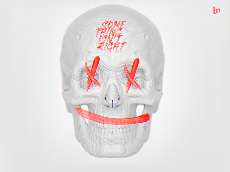 Something design white head red print skull zbrush illustration octane monster c4d render 3d