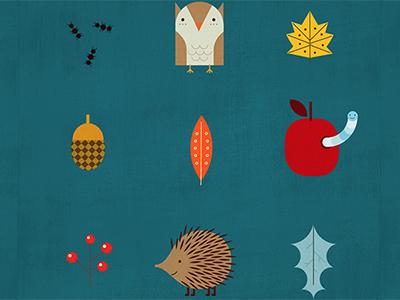 Fabric design illustration owl apple hedgehog leaves autumn fabric pattern