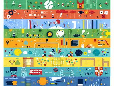 Banners Escuela de la Ciudad illustration education colors