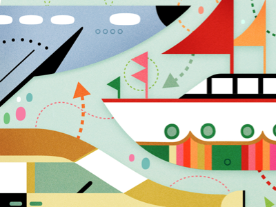 Vehicles illustration plane boat car transportation vehicle