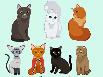 Cute Cats cats vector vector illustration illustrator illustration