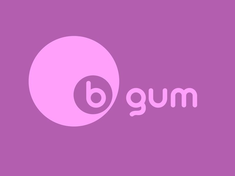 B GUM purple gummy gum bubblegum logodesign logo logo mark