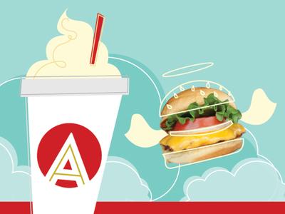 A heavenly combination line 58 branding  web design atomic burger