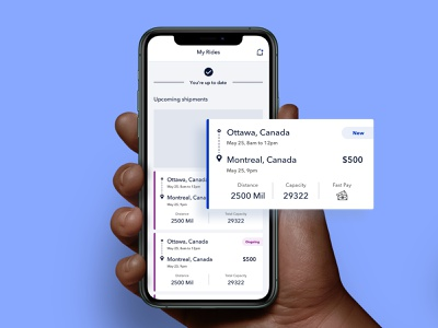 Freight Management Mobile App product design shipping management user-centered shipping container ios carrier shipping freight mobile app design ux ui