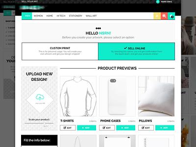 E-commerce Artwork Upload design website interface ux ui profile upload page artist user ecommerce